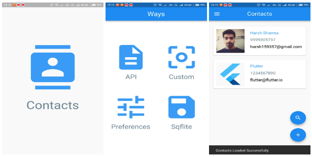 A flutter project with Implementation of a Contacts app in 4 ways