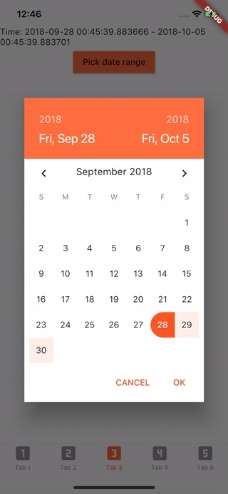 Flutter date range pickers use a dialog window to select a