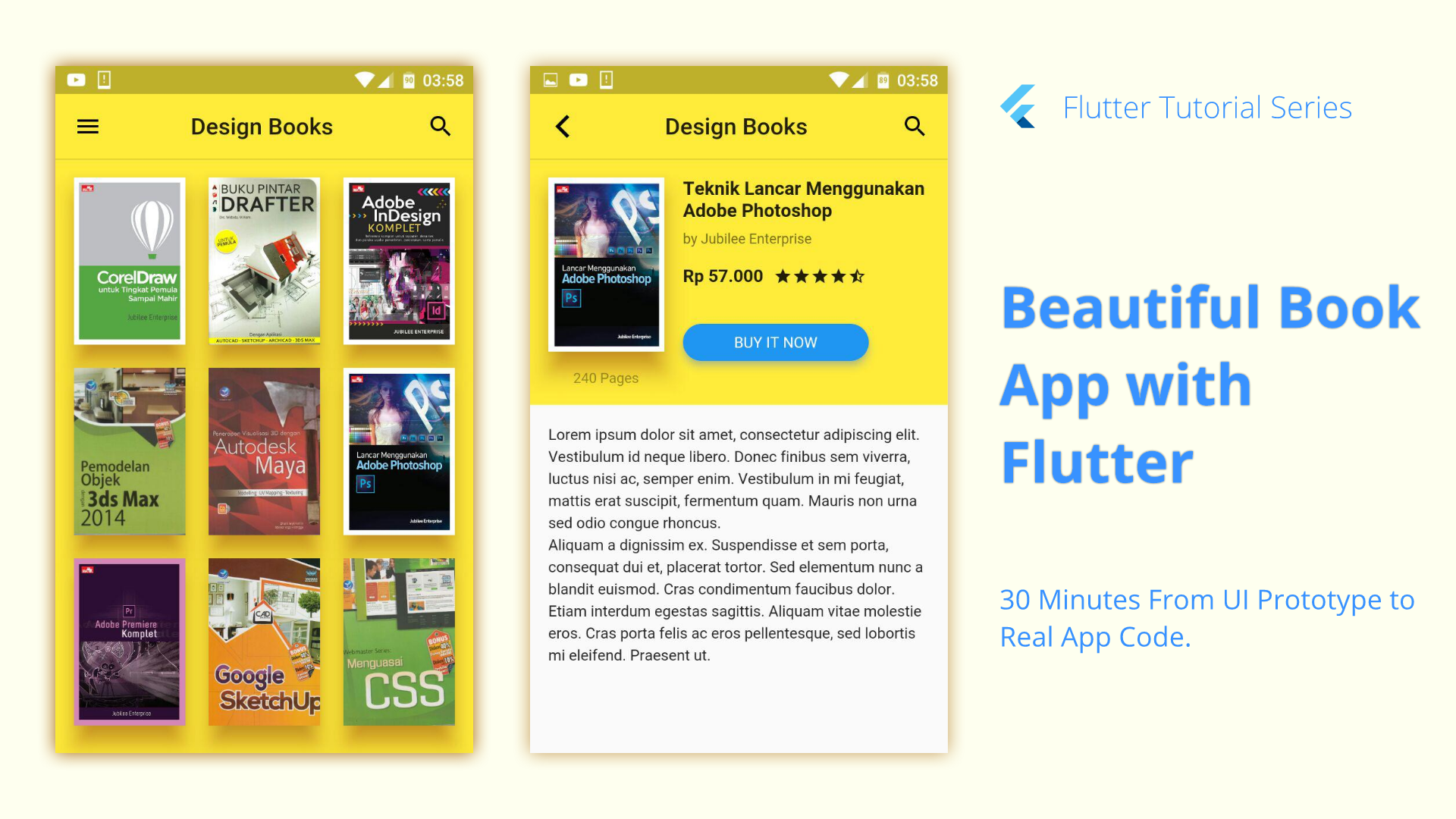 A Flutter project of book app UI from prototype originally by Travis.