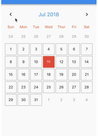 Calendar widget for flutter that is swipeable horizontally