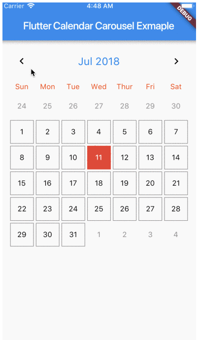 Calendar widget for flutter that is swipeable horizontally