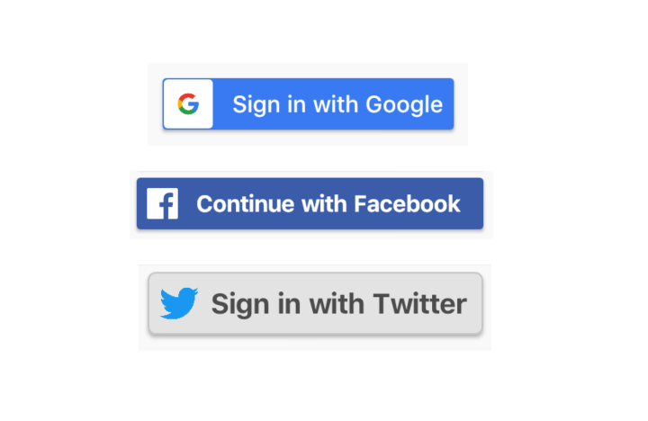 Flutter buttons for Facebook | Google and Twitter sign in