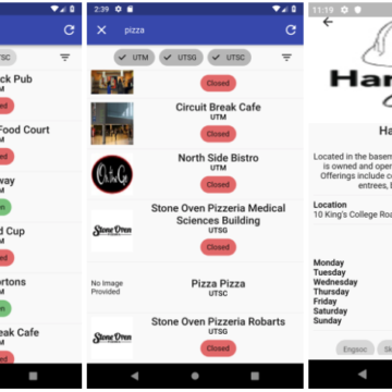 A Flutter application organizing access to information on University of Toronto Food Options