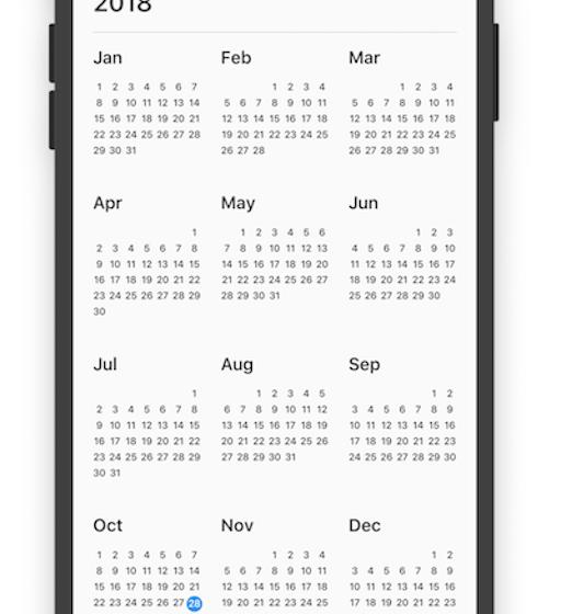 A calendar widget to easily scroll through the years