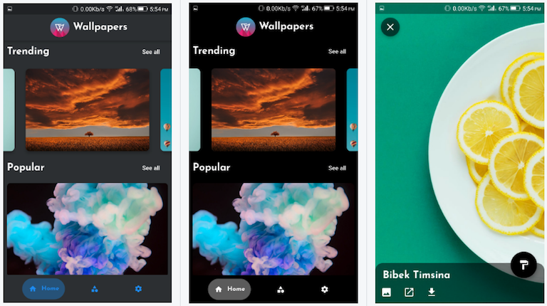 Wallpaper App made with Flutter with Dynamic Theming