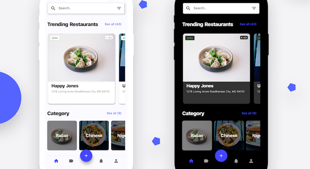 Flutter representation of a Restaurant app UI i found on Uplabs