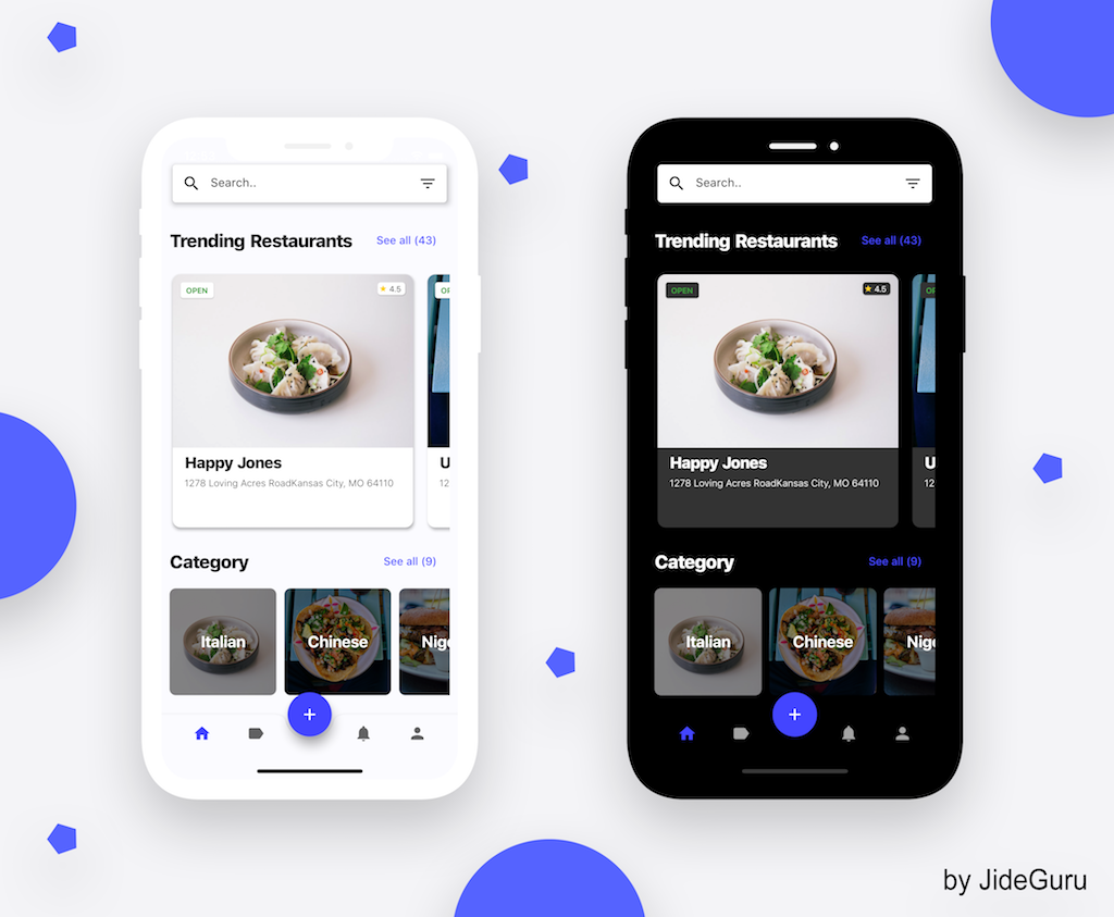 Flutter representation of a Restaurant app UI i found in Uplabs