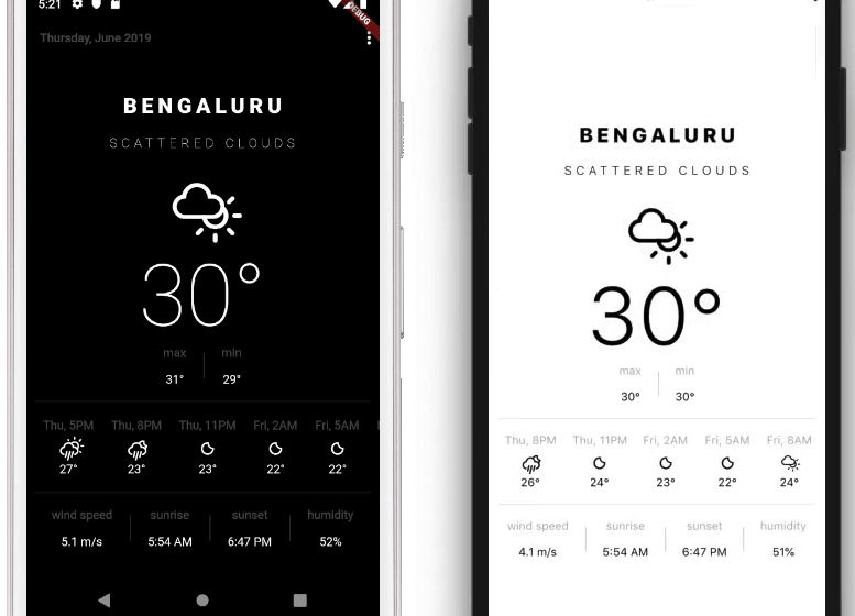 An elegant easy on the eyes weather app build with flutter