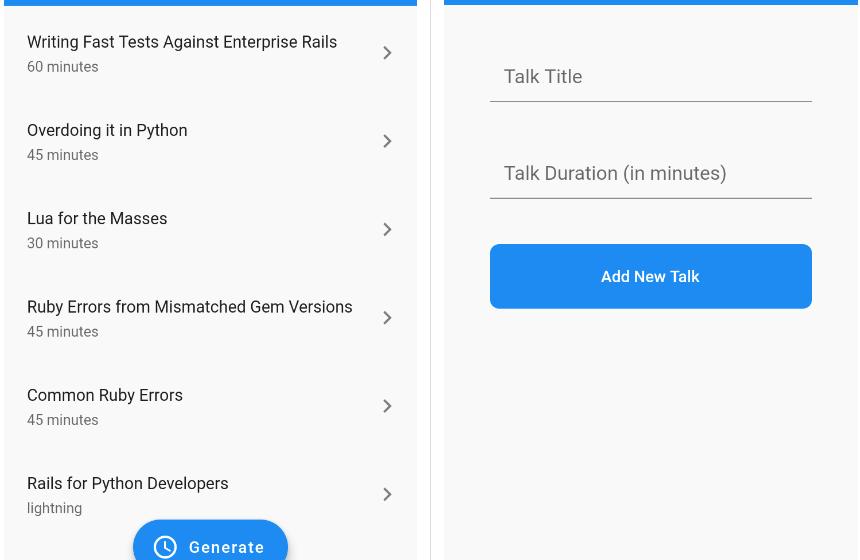 Conference Tracker Management app written in Flutter