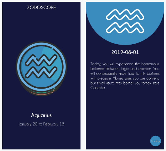 A horoscope forcasting application for both Android and iOS