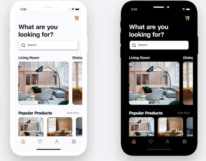 Flutter representation of a furniture app UI