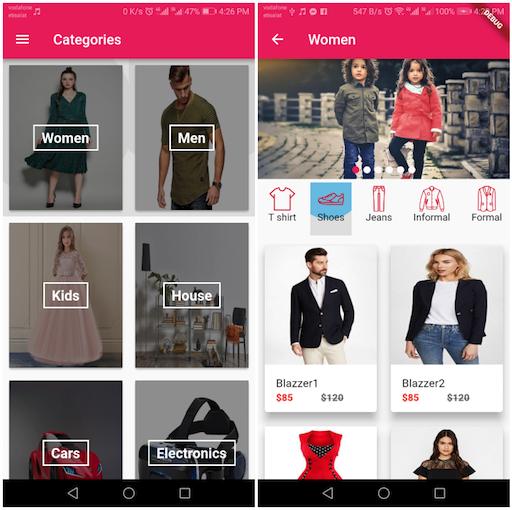 E commerce application using Flutter