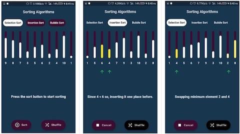 Sorting algorithms visualizer in Flutter